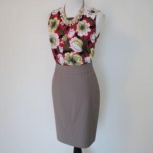 ANN TAYLOR Size 6 Skirt Blouse Set Brown Pink